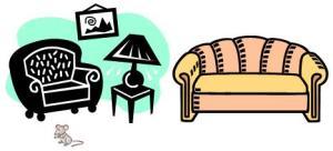 los muebles en la sala con ratoncito