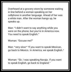 We are in America Speak English